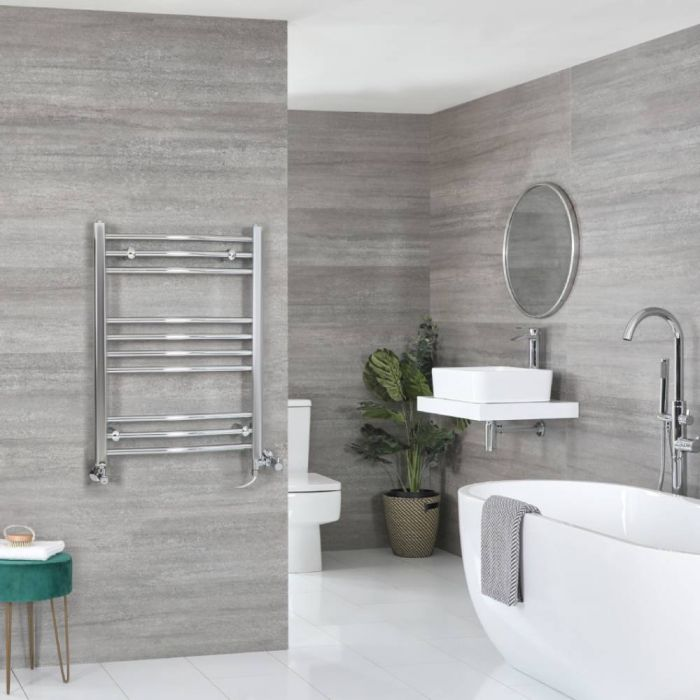 Milano Kent Dual Fuel - Chrome Curved Heated Towel Rail - 800mm x 600mm