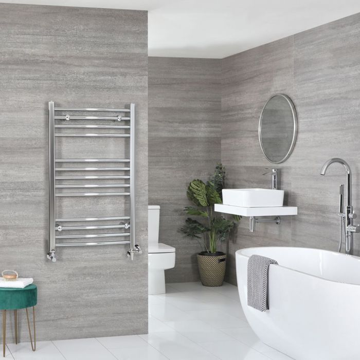 Milano Kent Dual Fuel - Chrome Curved Heated Towel Rail - 1000mm x 600mm