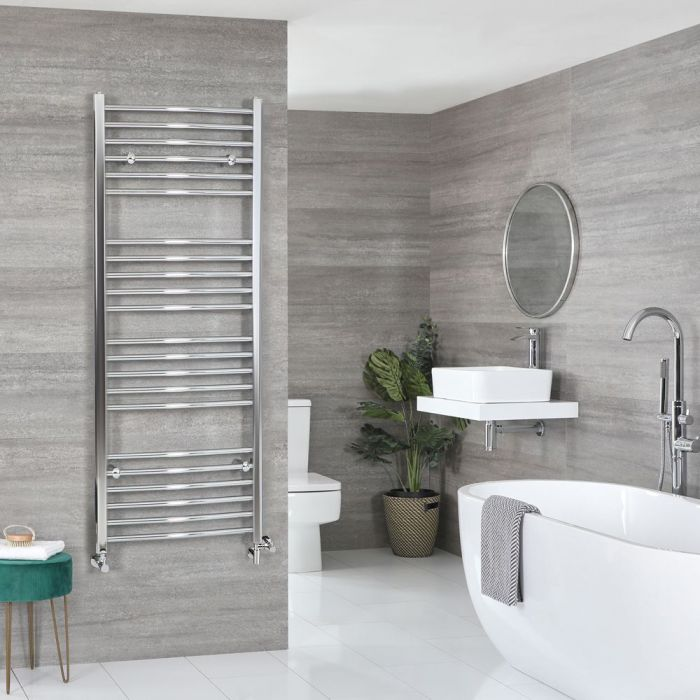 Milano Kent Dual Fuel - Chrome Curved Heated Towel Rail - 1600mm x 600mm