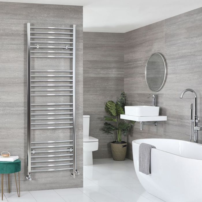 Milano Kent Dual Fuel - Chrome Curved Heated Towel Rail - 1800mm x 600mm