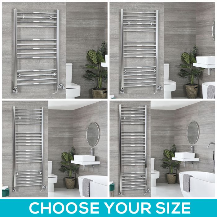 Milano Kent Dual Fuel - Chrome Curved Heated Towel Rail - Choice of Size