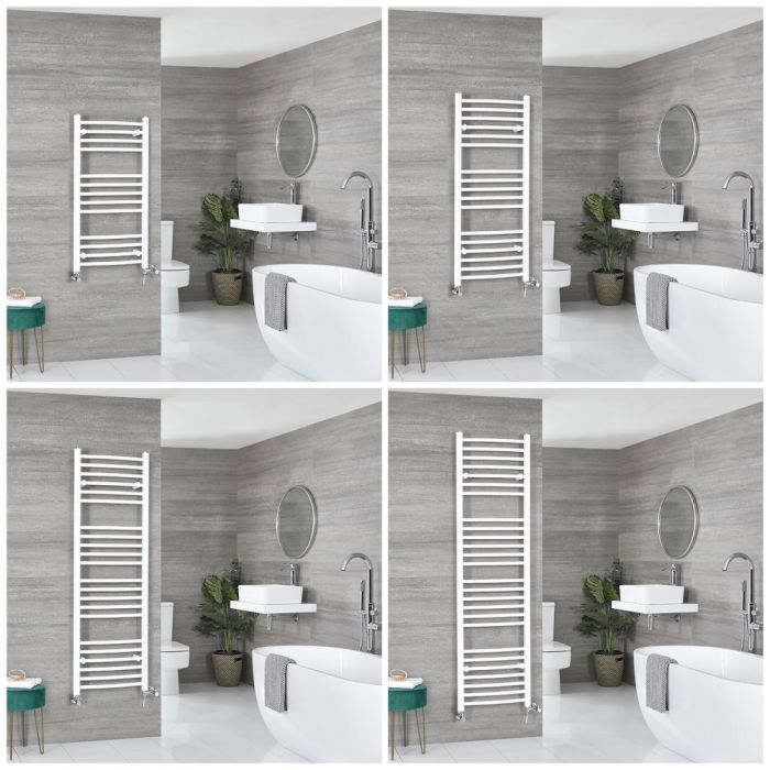 Milano Ive Dual Fuel - White Curved Heated Towel Rail - Choice of Size