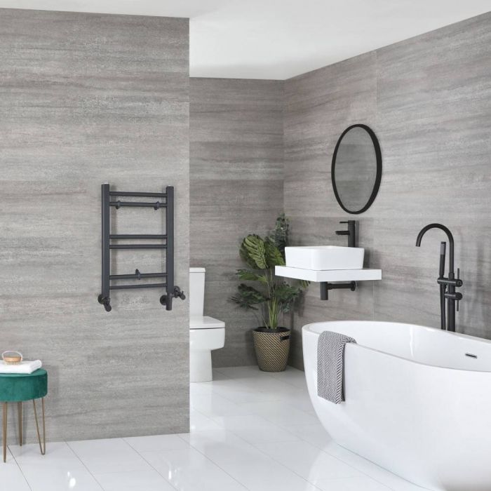 Milano Artle Dual Fuel - Anthracite Flat Heated Towel Rail - 600mm x 400mm