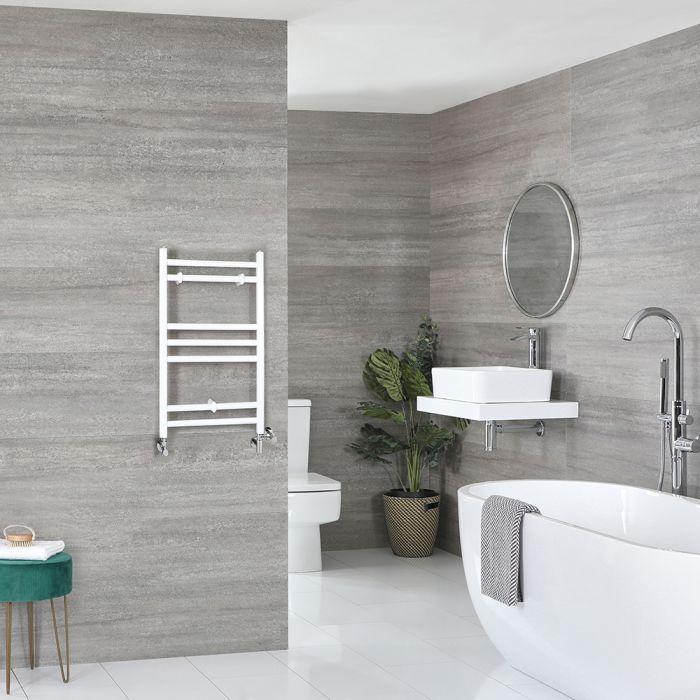 Milano Ive Dual Fuel - White Flat Heated Towel Rail - 600mm x 400mm