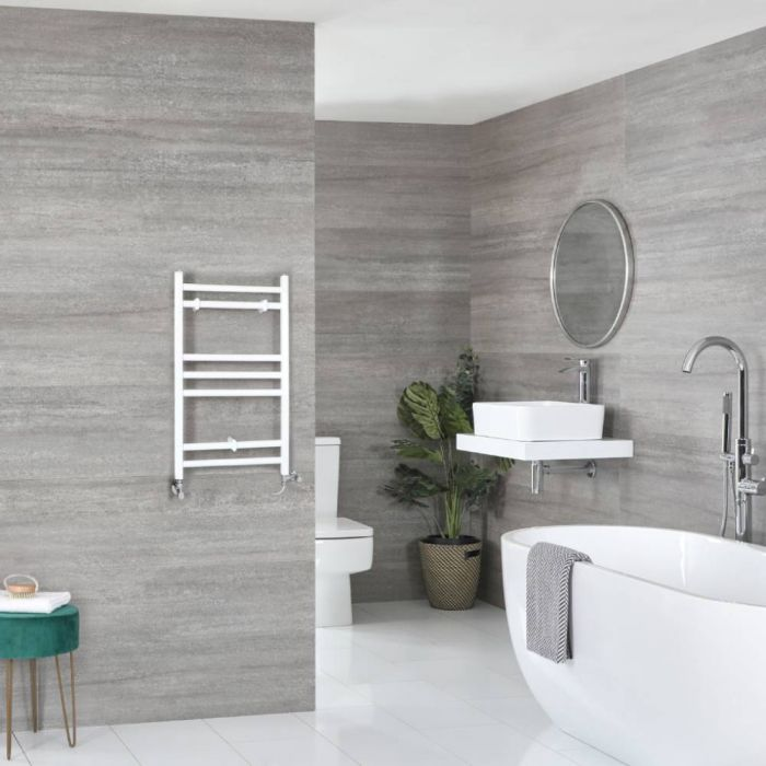 Milano Ive Dual Fuel - White Flat Heated Towel Rail - 600mm x 400mm