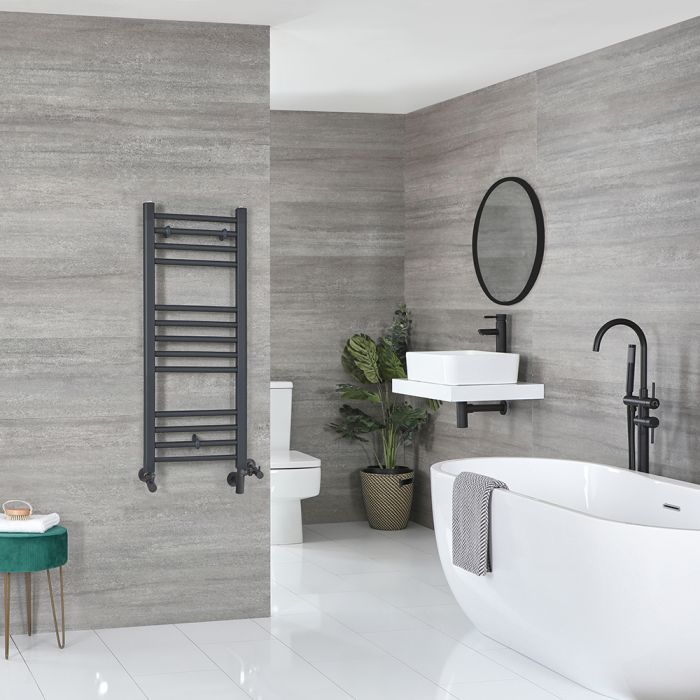 Milano Artle Dual Fuel - Anthracite Flat Heated Towel Rail - 1000mm x 400mm