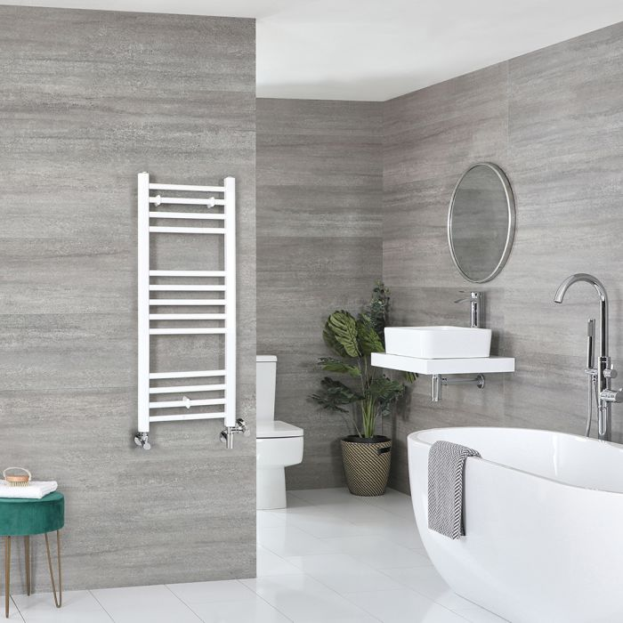 Milano Ive Dual Fuel - White Flat Heated Towel Rail - 1000mm x 400mm