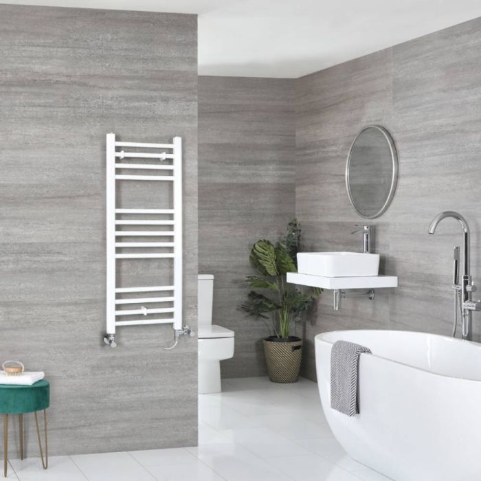 Milano Ive Dual Fuel - White Flat Heated Towel Rail - 1000mm x 400mm