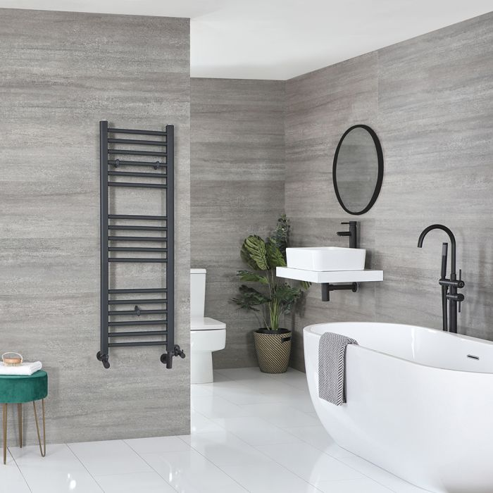 Milano Artle Dual Fuel - Anthracite Flat Heated Towel Rail - 1200mm x 400mm