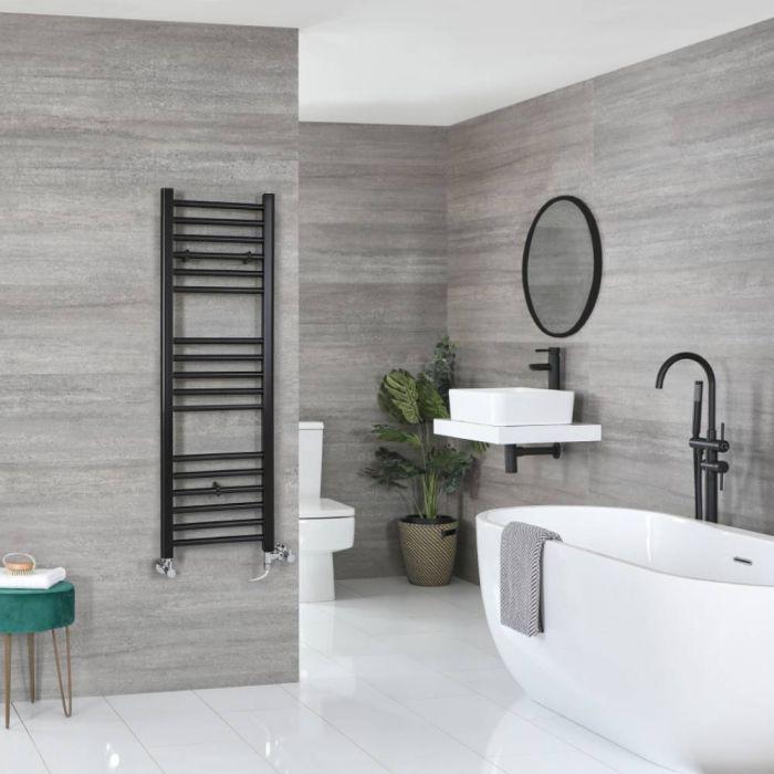 Milano Nero Dual Fuel - Black Flat Heated Towel Rail - 1200mm x 400mm