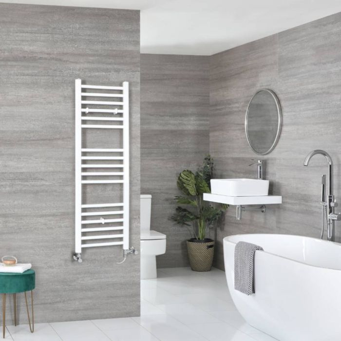Milano Ive Dual Fuel - White Flat Heated Towel Rail - 1200mm x 400mm