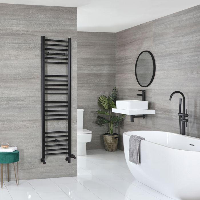 Milano Nero Dual Fuel - Black Flat Heated Towel Rail - 1600mm x 400mm