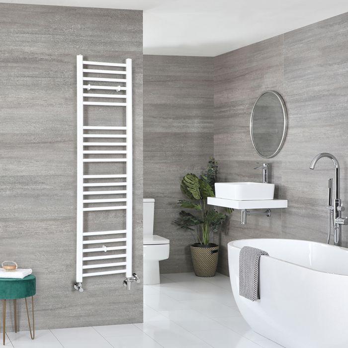 Milano Ive Dual Fuel - White Flat Heated Towel Rail - 1600mm x 400mm