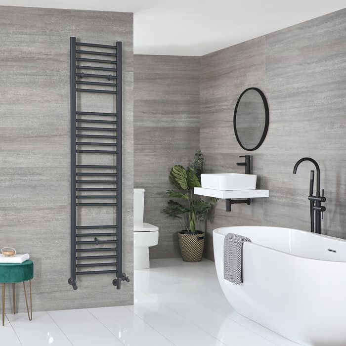 Milano Artle Dual Fuel - Anthracite Flat Heated Towel Rail - 1800mm x 400mm