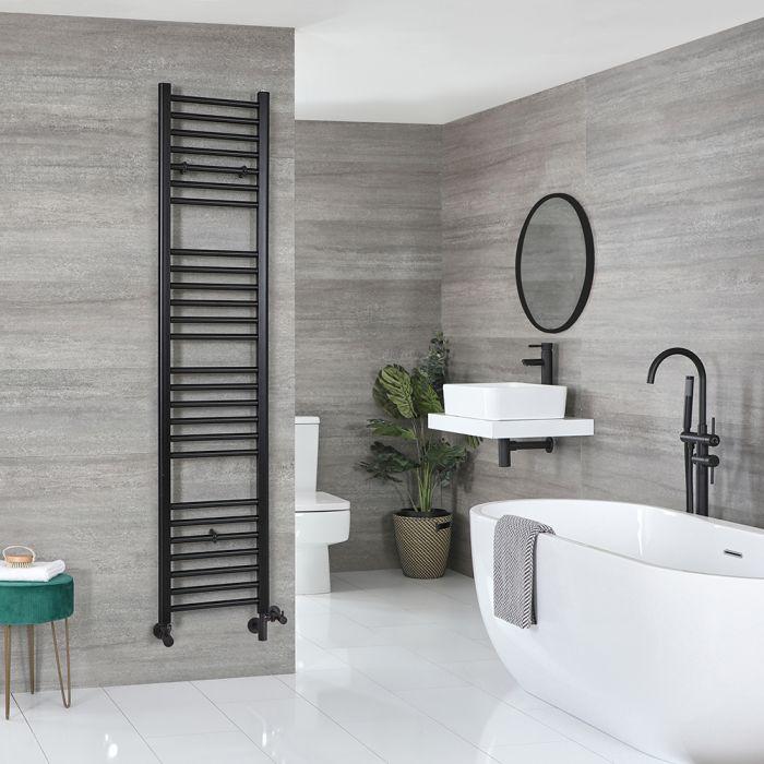 Milano Nero Dual Fuel - Black Flat Heated Towel Rail - 1800mm x 400mm