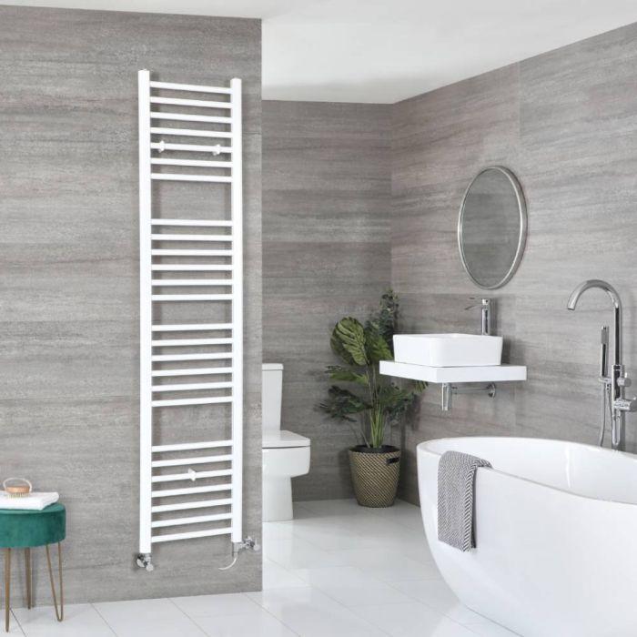 Milano Ive Dual Fuel - White Flat Heated Towel Rail - 1800mm x 400mm