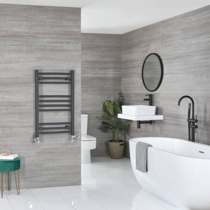 Milano Artle Dual Fuel - Anthracite Flat Heated Towel Rail - 800mm x 500mm