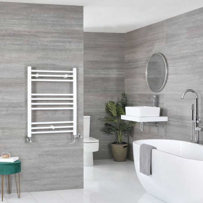 Milano Ive Dual Fuel - White Flat Heated Towel Rail - 800mm x 500mm