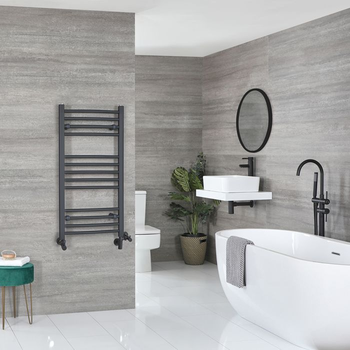 Milano Artle Dual Fuel - Anthracite Flat Heated Towel Rail - 1000mm x 500mm