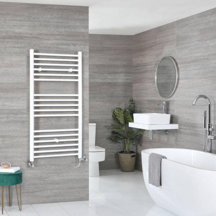 Milano Ive Dual Fuel - White Flat Heated Towel Rail - 1200mm x 500mm
