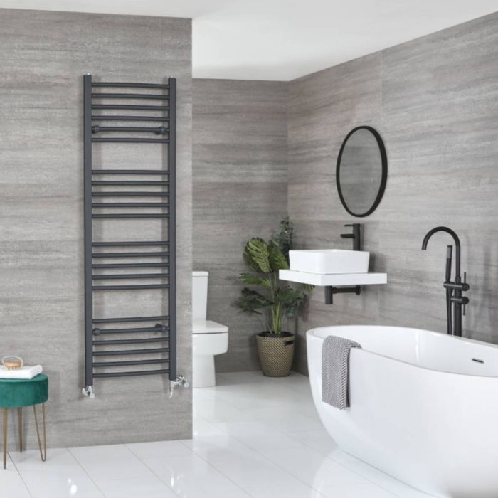 Milano Artle Dual Fuel - Anthracite Flat Heated Towel Rail - 1600mm x 500mm