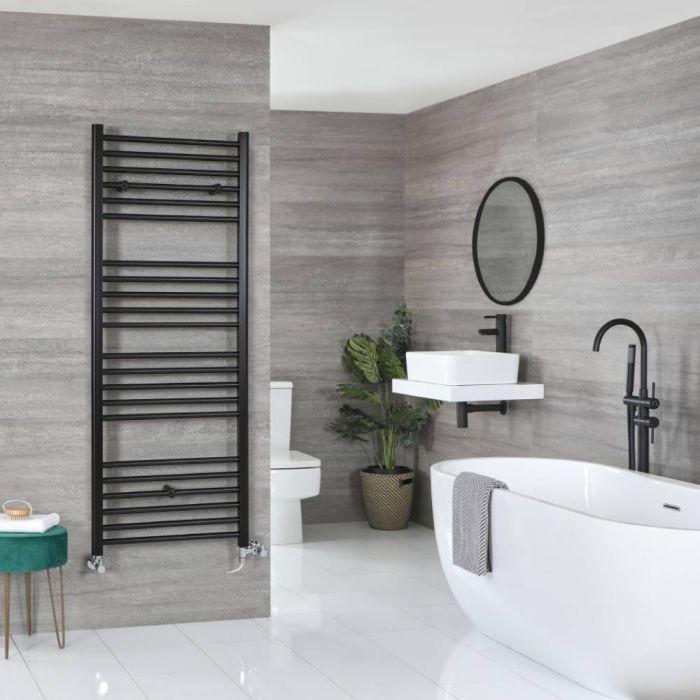 Milano Nero Dual Fuel - Black Flat Heated Towel Rail - 1600mm x 500mm