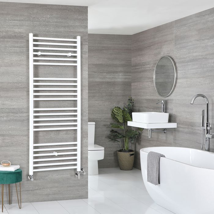 Milano Ive Dual Fuel - White Flat Heated Towel Rail - 1600mm x 500mm