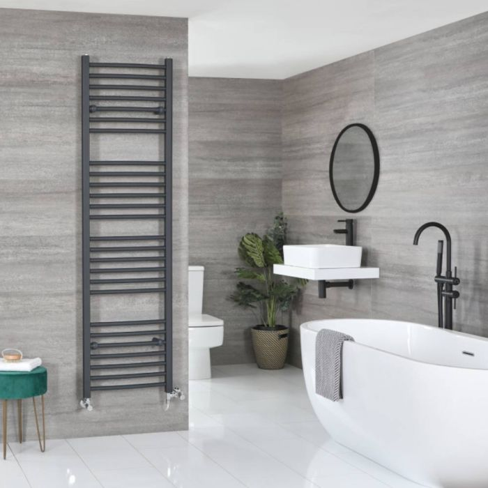 Milano Artle Dual Fuel - Anthracite Flat Heated Towel Rail - 1800mm x 500mm