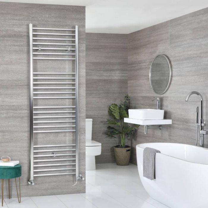 Milano Kent Dual Fuel - Chrome Flat Heated Towel Rail - 1800mm x 500mm