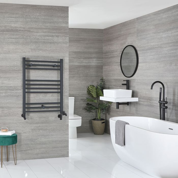 Milano Artle Dual Fuel - Anthracite Flat Heated Towel Rail - 800mm x 600mm
