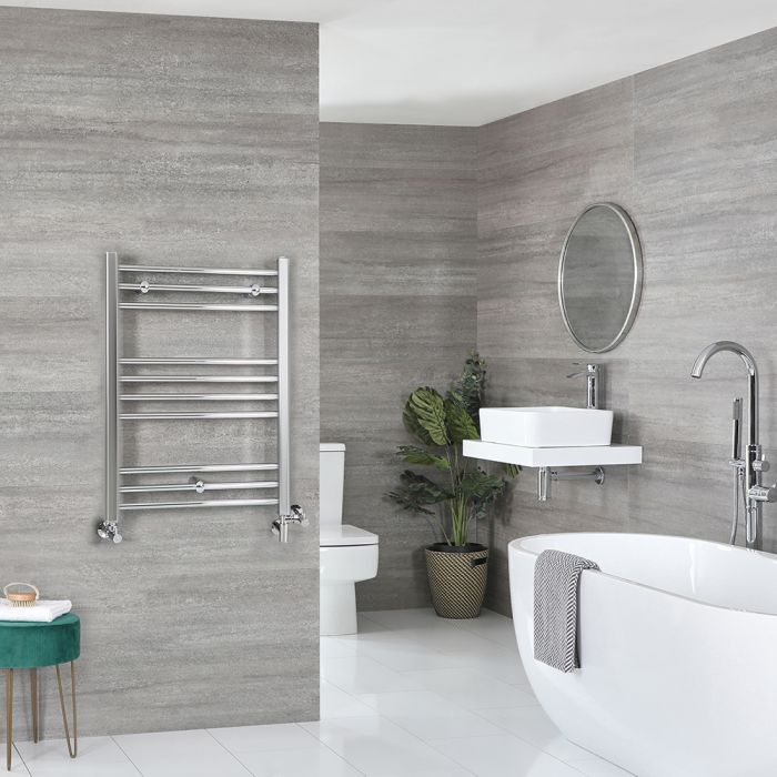 Milano Kent Dual Fuel - Chrome Flat Heated Towel Rail - 800mm x 600mm