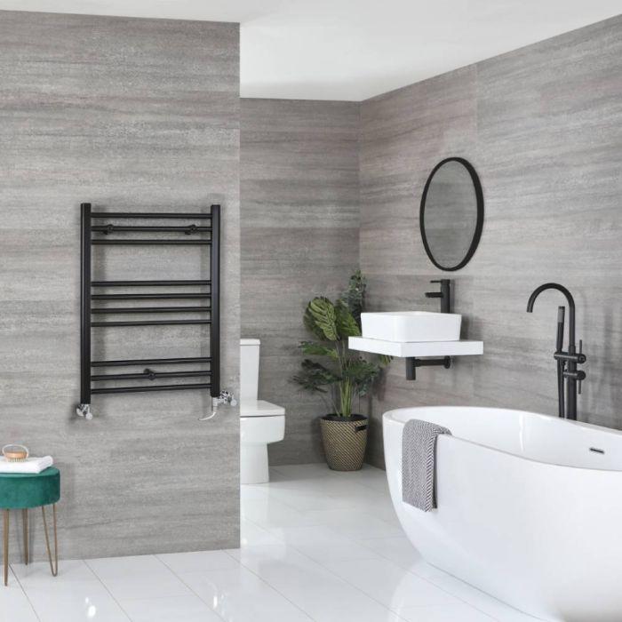 Milano Nero Dual Fuel - Black Flat Heated Towel Rail - 800mm x 600mm