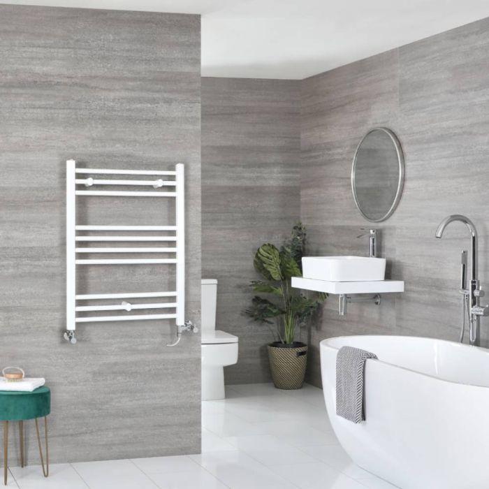 Milano Ive Dual Fuel - White Flat Heated Towel Rail - 800mm x 600mm