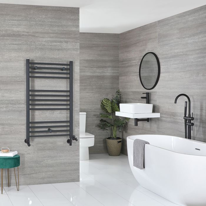 Milano Artle Dual Fuel - Anthracite Flat Heated Towel Rail - 1000mm x 600mm