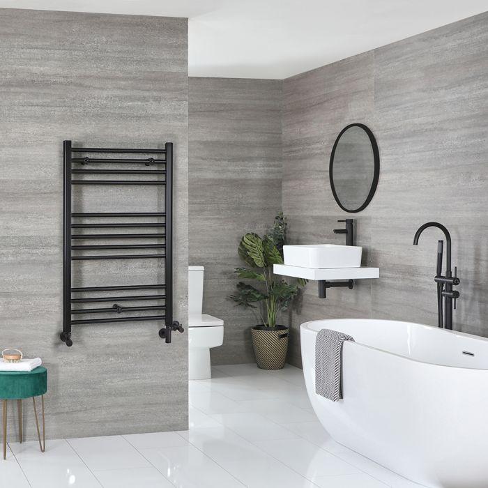 Milano Nero Dual Fuel - Black Flat Heated Towel Rail - 1000mm x 600mm
