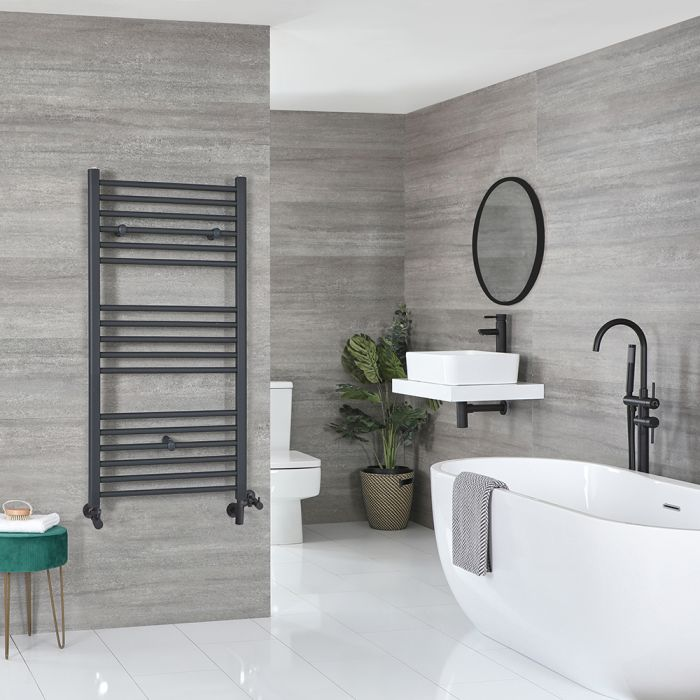 Milano Artle Dual Fuel - Anthracite Flat Heated Towel Rail - 1200mm x 600mm