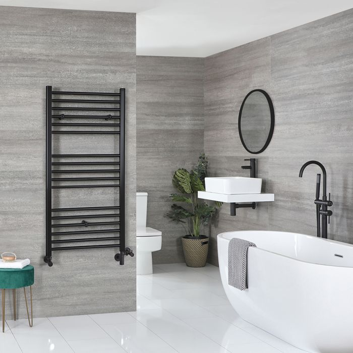 Milano Nero Dual Fuel Matt Black Flat Heated Towel Rail - 600 x 1200mm