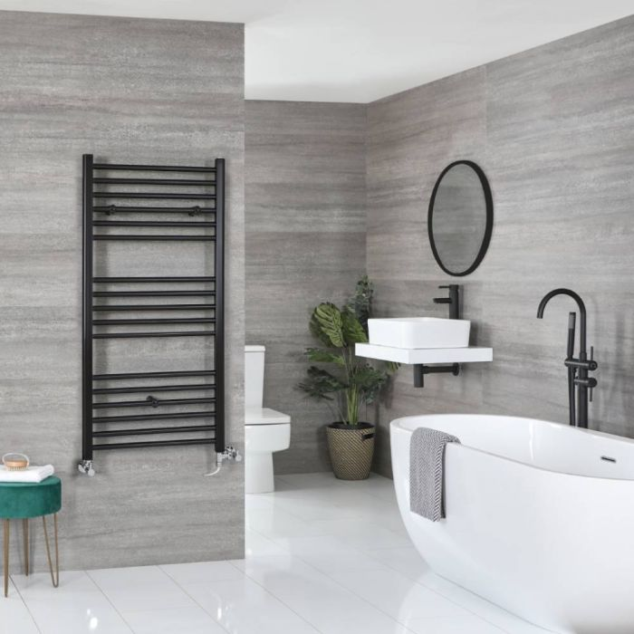 Milano Nero Dual Fuel Matt Black Flat Heated Towel Rail - 600 x 1200mm