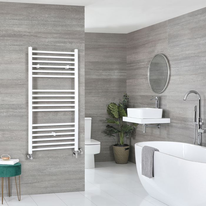 Milano Ive Dual Fuel - White Flat Heated Towel Rail - 1200mm x 600mm
