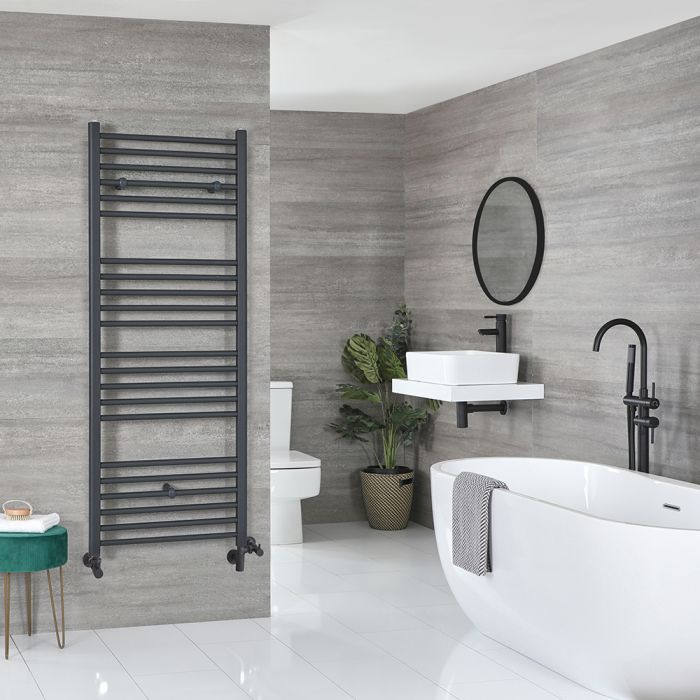 Milano Artle Dual Fuel - Anthracite Flat Heated Towel Rail - 1600mm x 600mm