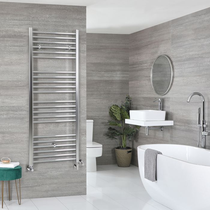 Milano Kent Dual Fuel - Chrome Flat Heated Towel Rail - 1600mm x 600mm