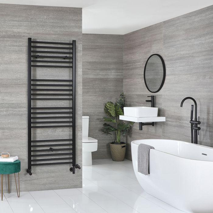 Milano Nero Dual Fuel - Black Flat Heated Towel Rail - 1600mm x 600mm