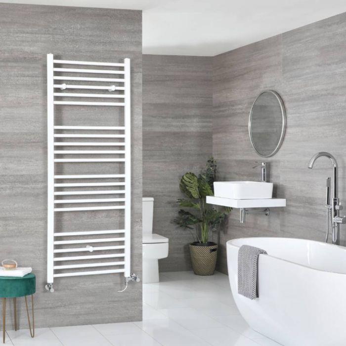 Milano Ive Dual Fuel - White Flat Heated Towel Rail - 1600mm x 600mm