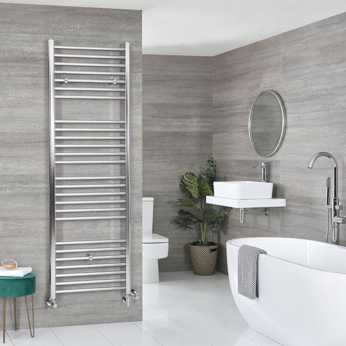 Milano Kent Dual Fuel - Chrome Flat Heated Towel Rail - 1800mm x 600mm