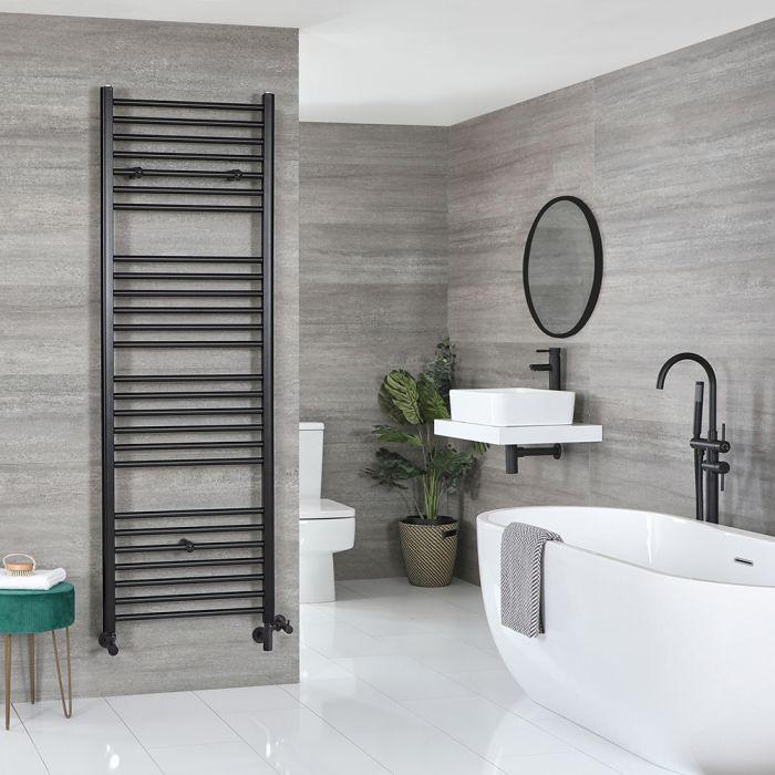 Milano Nero Dual Fuel - Black Flat Heated Towel Rail - 1800mm x 600mm
