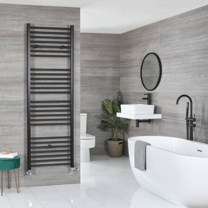 Milano Nero Dual Fuel - Black Flat Heated Towel Rail - 1800mm x 600mm