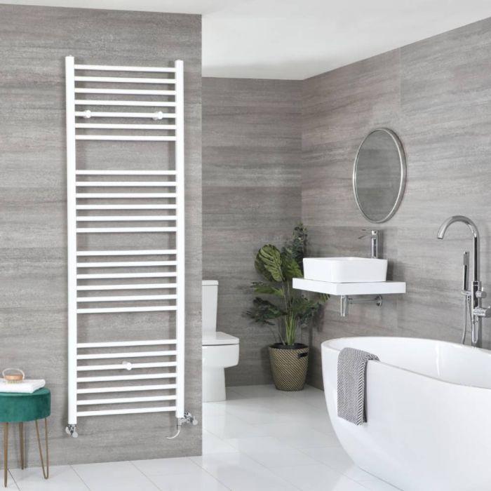 Milano Ive Dual Fuel - White Flat Heated Towel Rail - 1800mm x 600mm