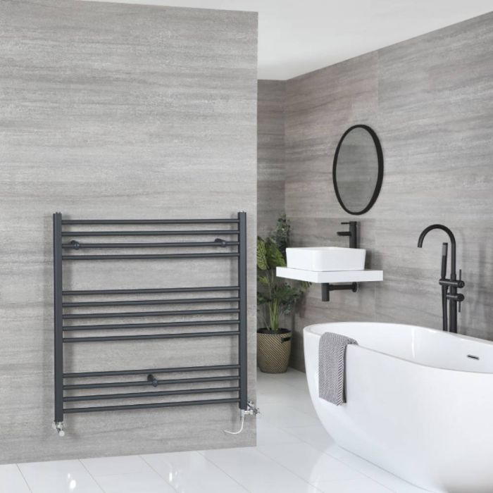 Milano Artle Dual Fuel - Anthracite Flat Heated Towel Rail - 1000mm x 1000mm