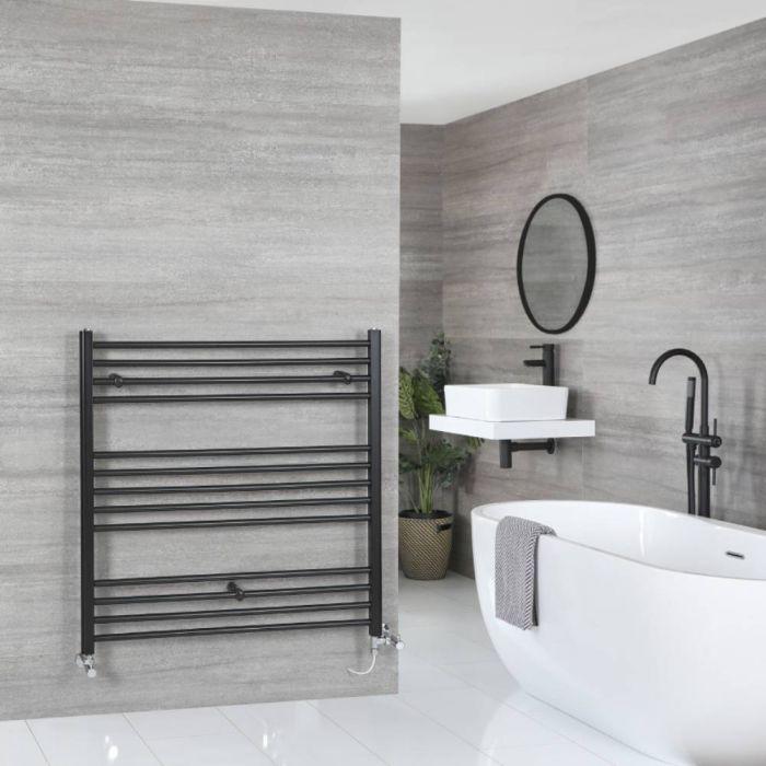 Milano Nero Dual Fuel - Black Flat Heated Towel Rail - 1000mm x 1000mm