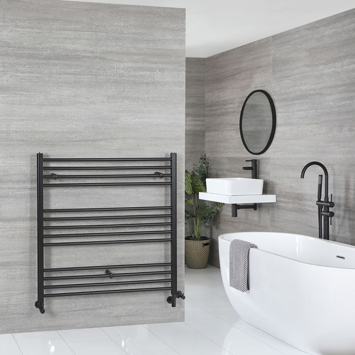 Milano Nero Dual Fuel - Black Flat Heated Towel Rail - 1000mm x 1000mm